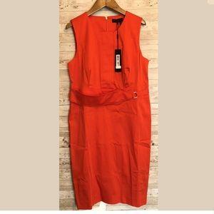 Donna Karan tangerine red midi sheath dress 12